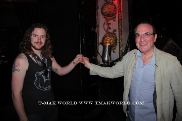 Pat Wilken of TimeGiant getting Geezer Butler's pick from John Perfetto of T-Mak World