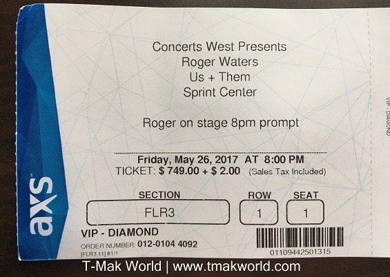 Roger Waters Us + Them VIP Ticket